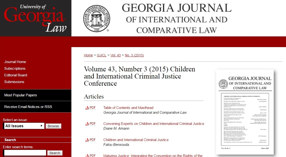 """GJICL publishes """"Children and International Criminal Justice"""